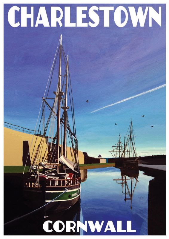Artist Jo Witherington Cornwall Art - Tall ships at Charlestown Harbour Dock