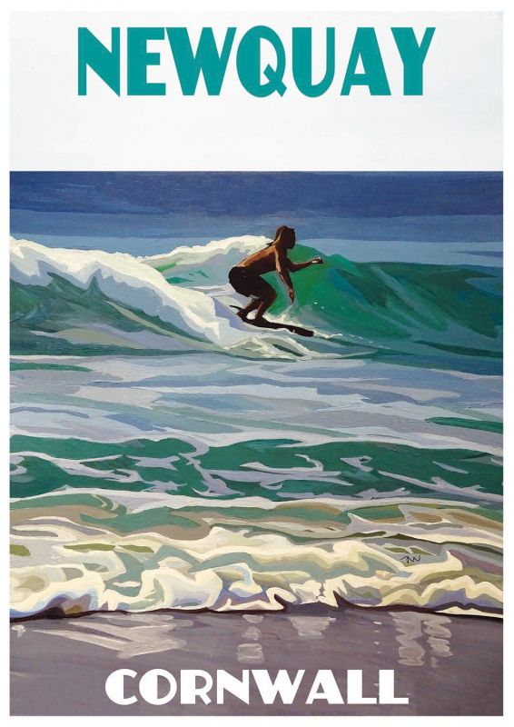 Artist Jo Witherington Cornwall Art - Surfing at Fistral Beach, Newquay