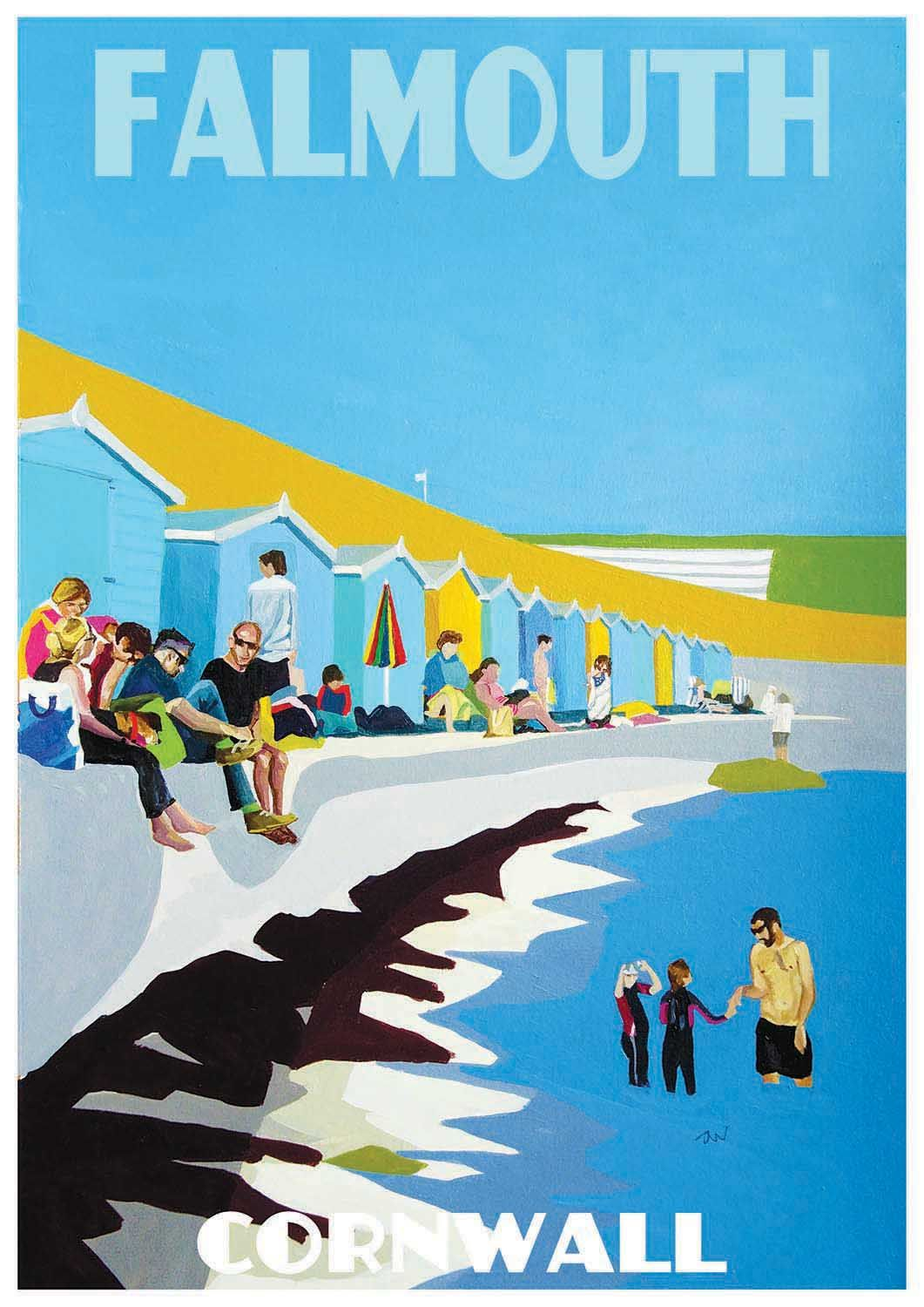 Original Painting of Castle Beach, Falmouth, Cornwall by Jo Witherington