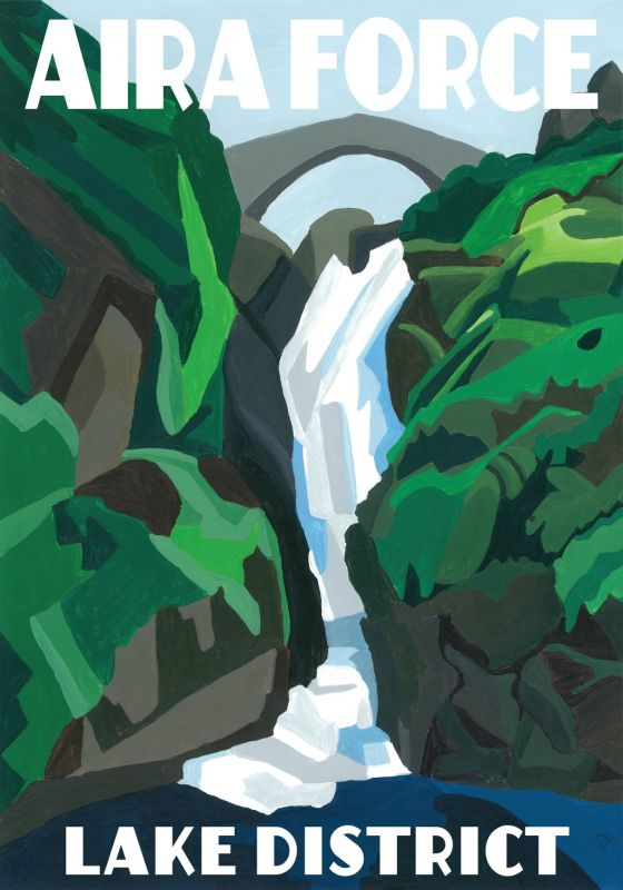 Aira Force, Cumbria. Lake District A3 Posters painted by Artist Jo Witherington