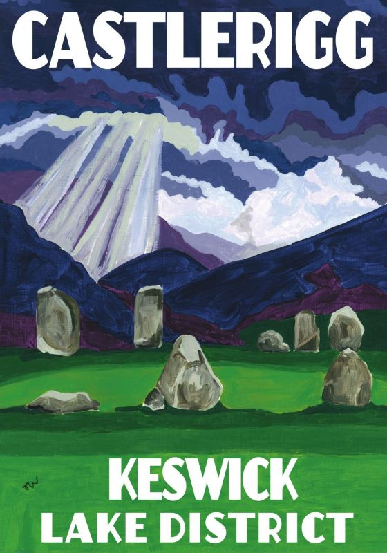 Castlerigg Stone Circle, Keswick, Cumbria. Lake District A3 Posters painted by Artist Jo Witherington