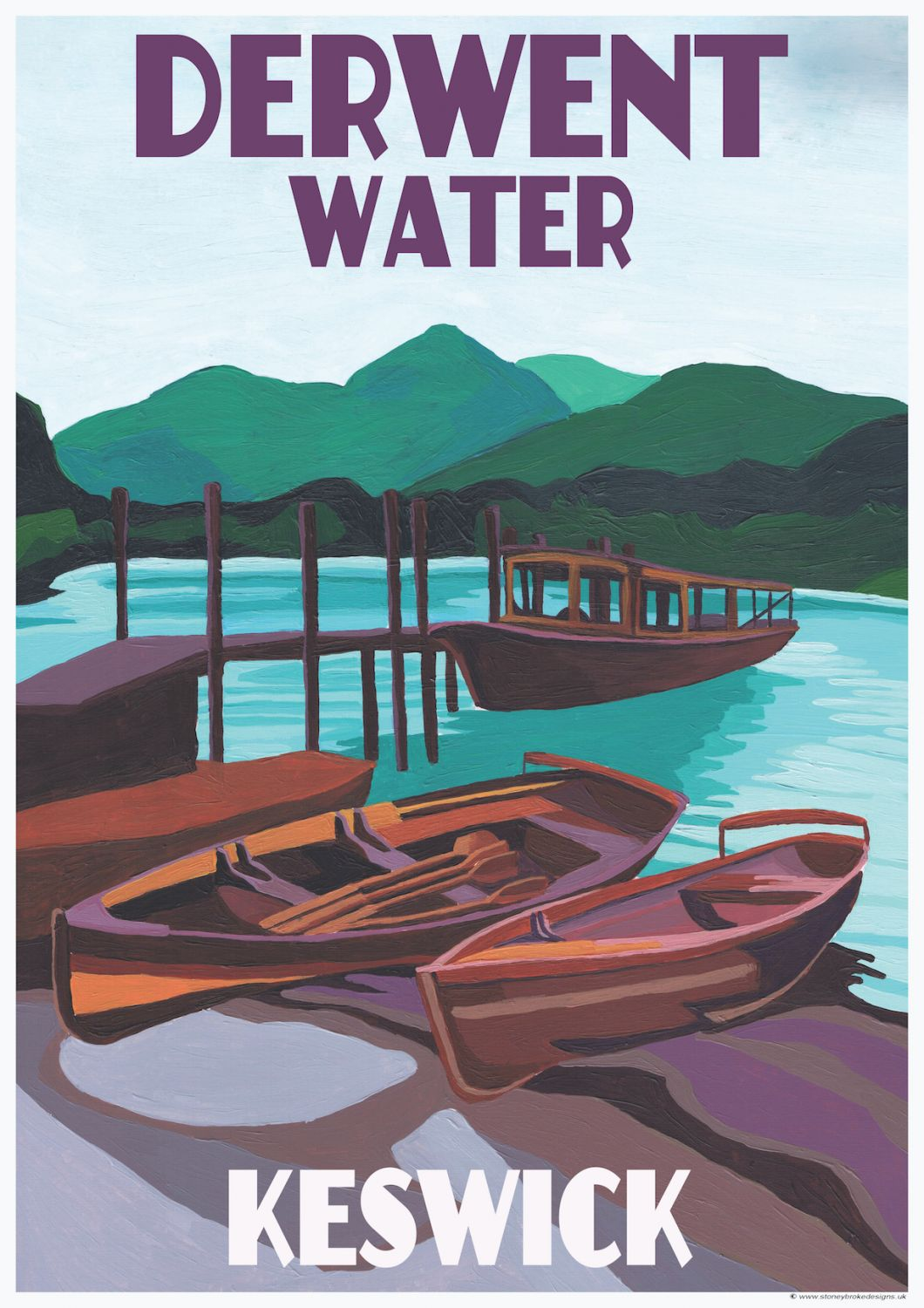 Derwent Water Lake District A3 Poster