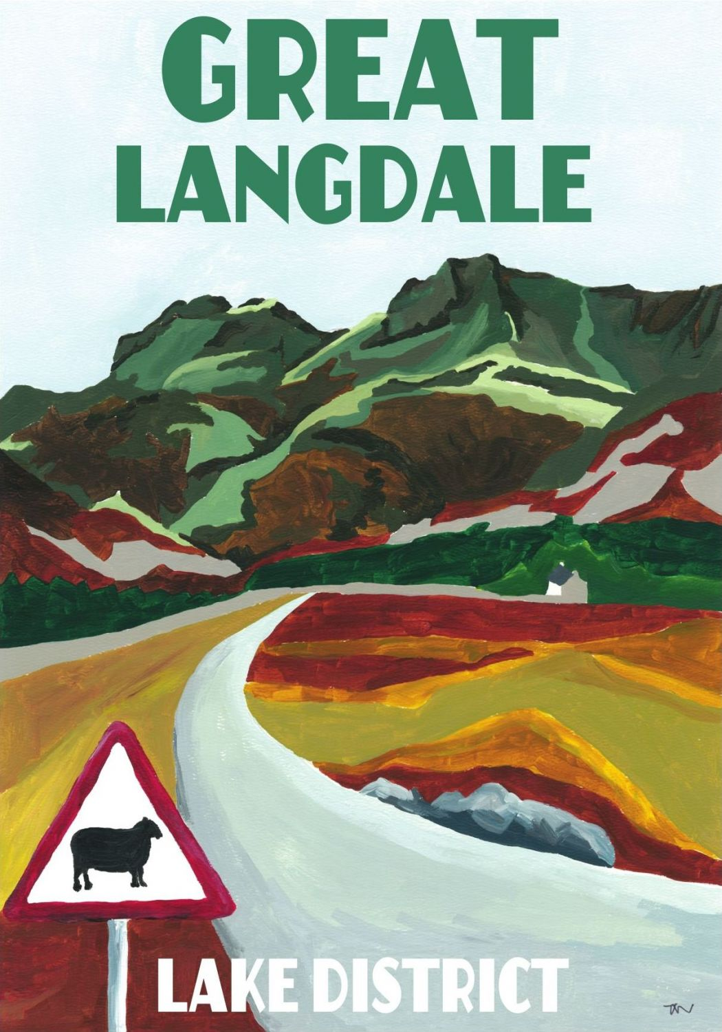 Great Langdale, Cumbria. Lake District A3 Posters painted by Artist Jo Witherington.