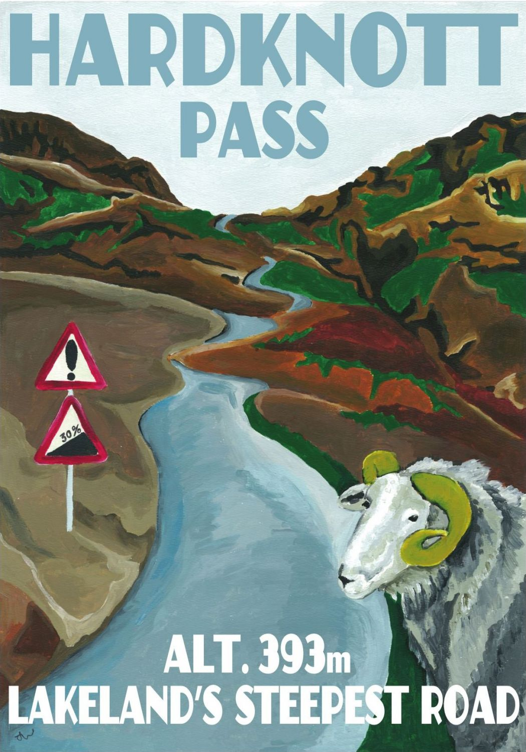 Hard Knott Pass, Cumbria. Lake District A3 Posters painted by Artist Jo Witherington.
