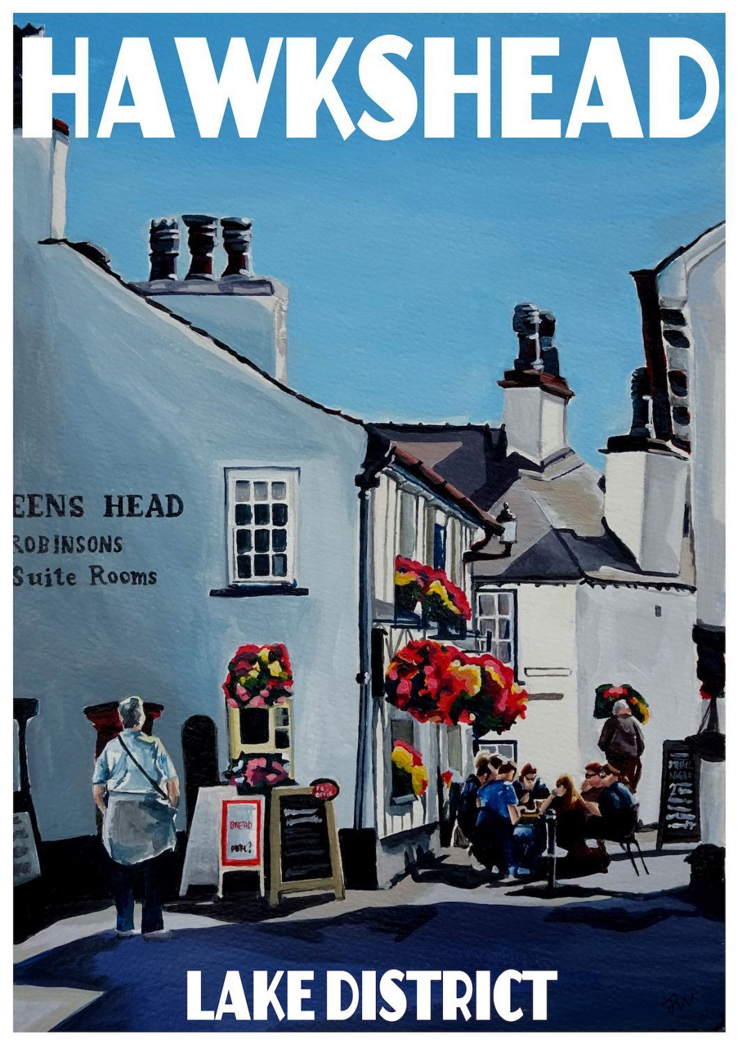 Hawkshead, Lake District. A3 Poster painted by Artist Jo Witherington, Artist in Cumbria.