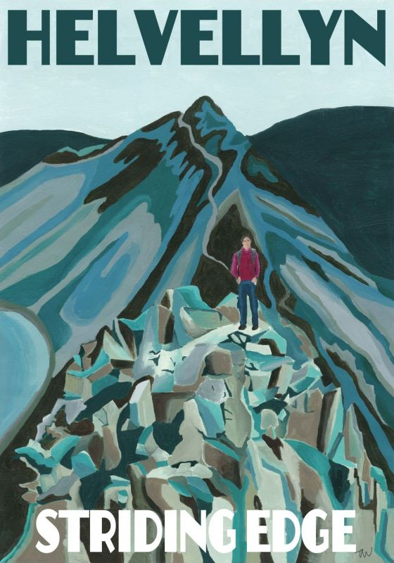 Helvellyn Lake District. A3 Poster painted by Artist Jo Witherington, Artist in Cumbria