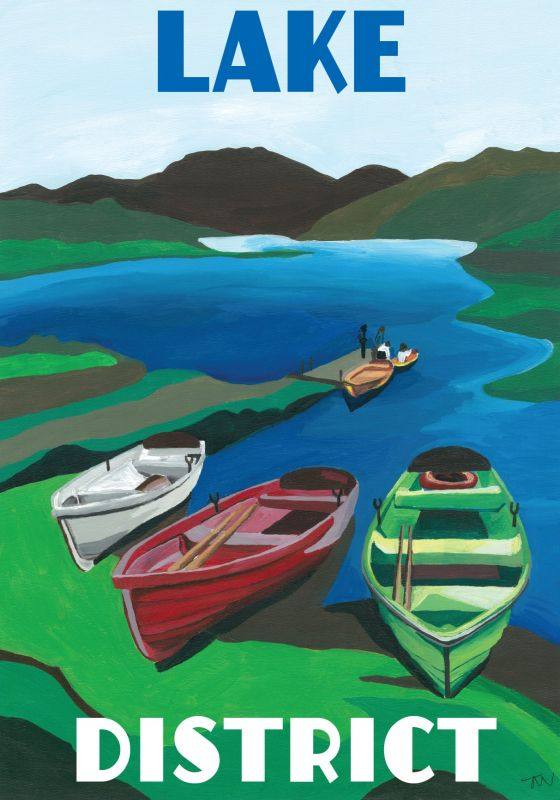 Lake District Cumbria. A3 Poster painted by Artist Jo Witherington, Artist in Cumbria.