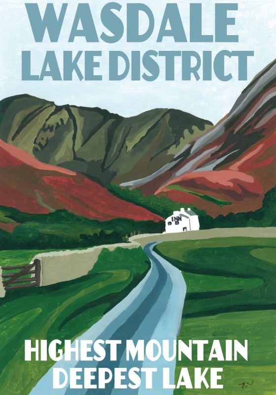 Wasdale Lake District. A3 Poster painted by Artist Jo Witherington, Artist in Cumbria.