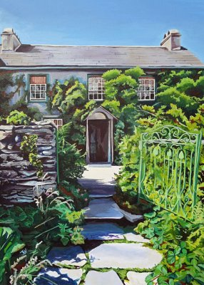 Hill Top, Beatrix Potter's home in the Lake District.  View from the garden, painted in late August.