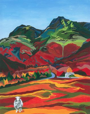 Langdale Pikes in Autumn Limited Edition Print, painted by Artist Jo Witherington