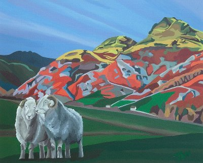 Langdale Pikes and Herdwicks Limited Edition Print, painted by Artist Jo Witherington