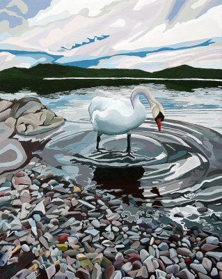 Swan at Dusk, Coniston Water Limited Edition Print, painted by Artist Jo Witherington